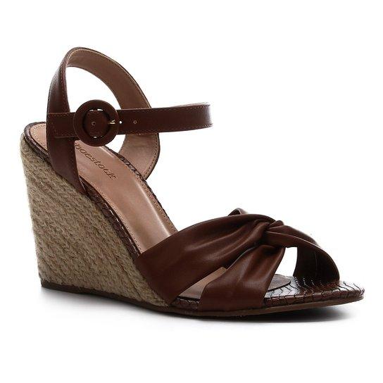 Sandália Anabela Shoestock Couro Nó Feminina - Marrom Claro