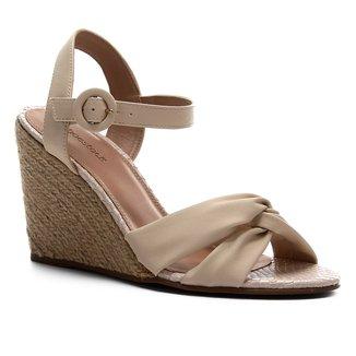Sandália Anabela Shoestock Couro Nó Feminina