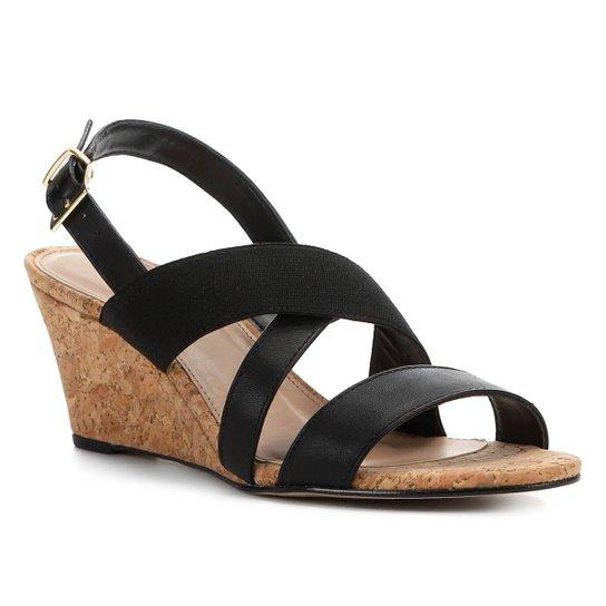 Sandália Anabela Shoestock Elástico Feminina - Preto