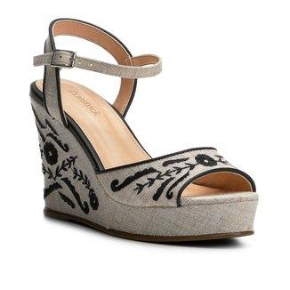 Sandália Anabela Shoestock Linho Bordada Feminina