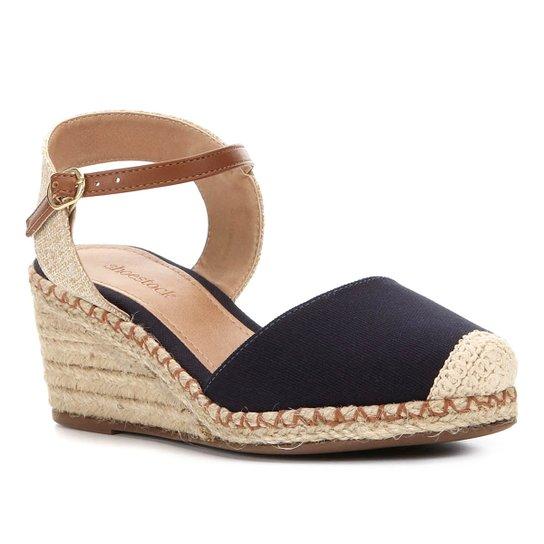 Sandália Anabela Shoestock Lona Feminina - Marinho