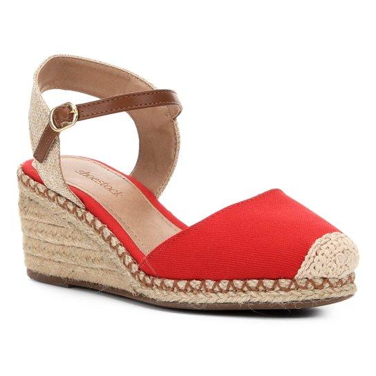 Sandália Anabela Shoestock Lona Feminina - Vermelho
