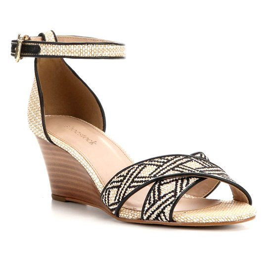 Sandália Anabela Shoestock Ráfia Feminina - Bege+Preto