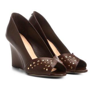 Sandália Anabela Shoestock Tachas Feminina