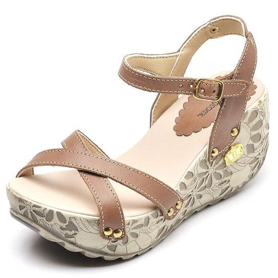 Sandália Betina Beker Top Franca Shoes Anabela Feminina - Marrom
