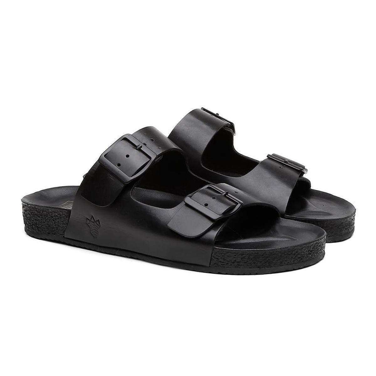 Sandália Birken Masculina Couro Conforto Leve Black Boots - Preto