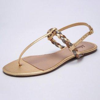 Sandália Bloom T-Strap Trança Dourada