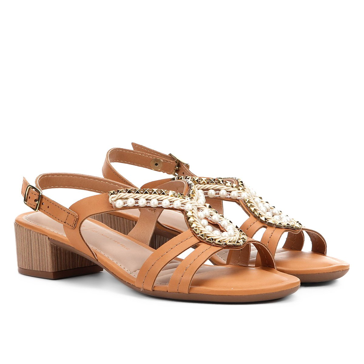 a5cea25ecc Sandália com tachas dakota salto baixo feminina caramelo compre jpg 544x544 Dakota  salto baixo