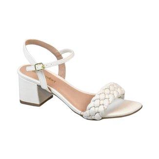 Sandália com Tiras Trançadas Comfort Porcelana