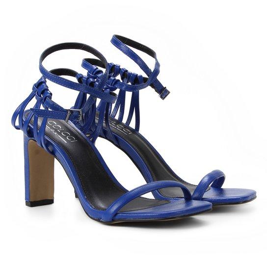 Sandália Couro Colcci Salto Reto Feminina  - Azul