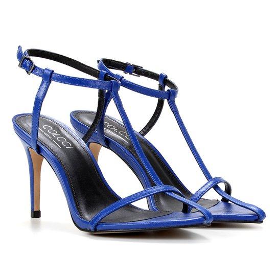 Sandália Couro Colcci Tira Fina Feminina - Azul