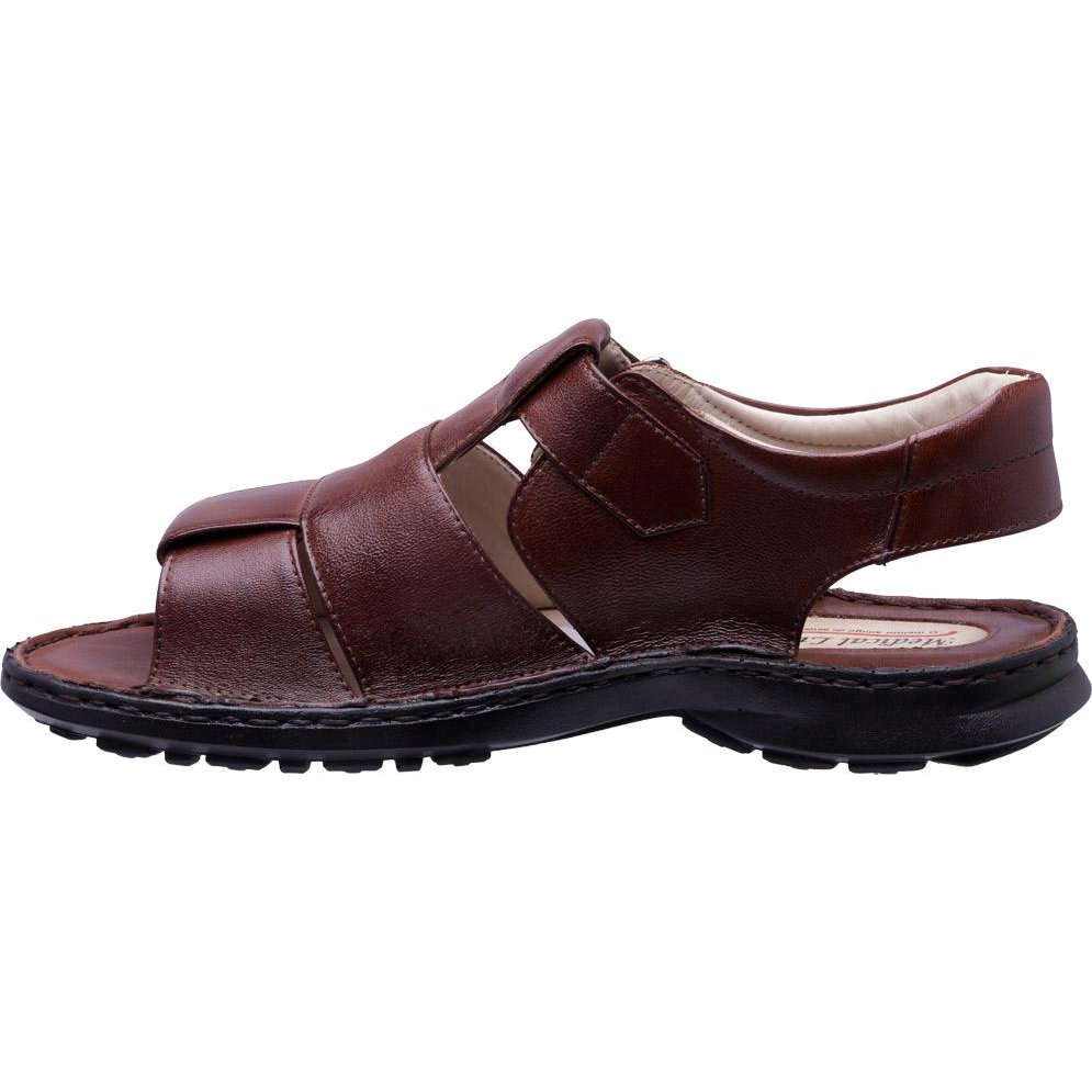 Super Sandália Masculina Line Sandália Confort Couro Couro Marrom Medical Velcro C5qgYwq