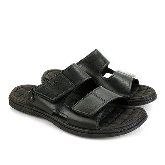 Sandália Couro Pegada Velcro Masculina