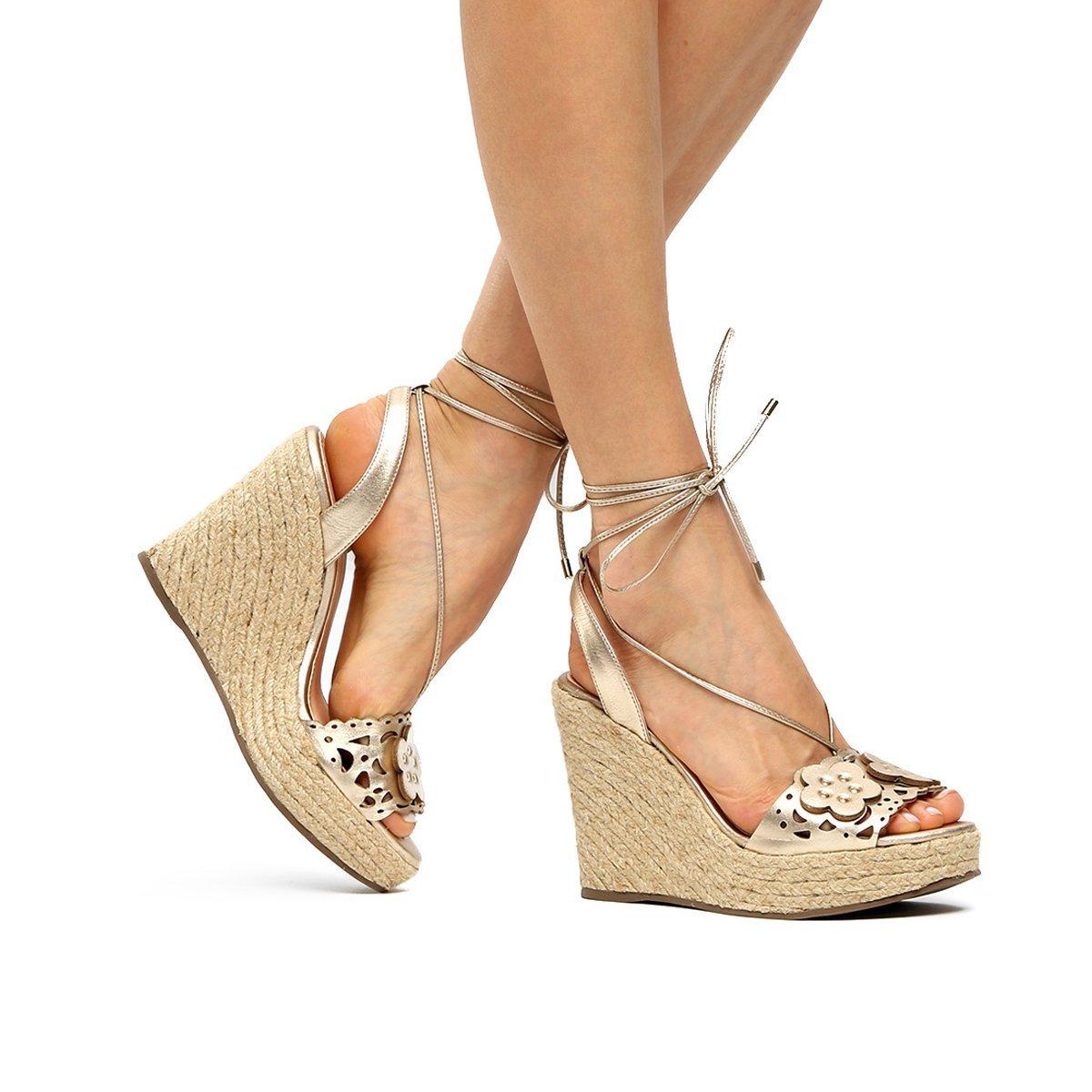 Sandália Sandália Couro Shoestock Plataforma Flores Dourado Couro Feminina Metalizadas 5rRqw5