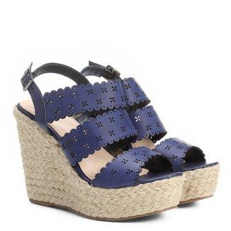 Sandália Couro Plataforma Shoestock Lasercut Floral Feminina