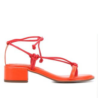 Sandália Couro Shoestock Amarração Salto Médio Bloco Feminina