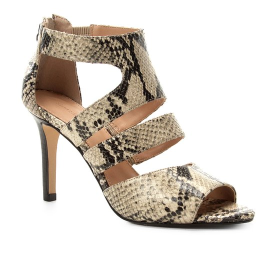 Sandália Couro Shoestock Animal Print Snake Feminina - Bege