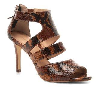 Sandália Couro Shoestock Animal Print Snake Feminina