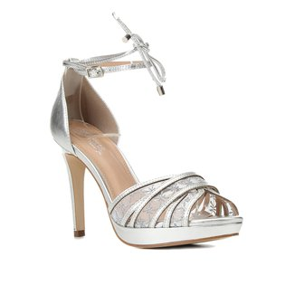 Sandália Couro Shoestock Bride Salto Alto Bordada Feminina
