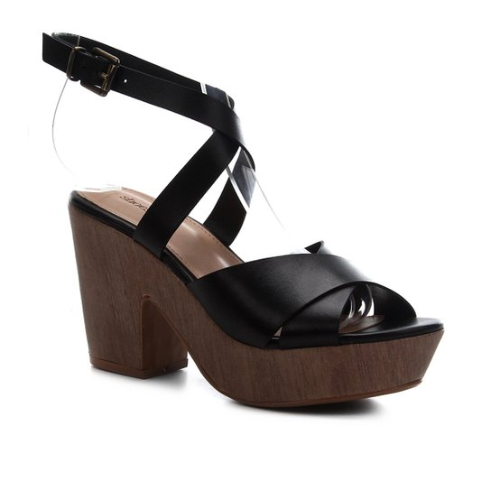 Sandália Couro Shoestock Clog Madeira Feminina - Preto