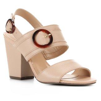 Sandália Couro Shoestock Floater Salto Alto Feminina