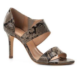 Sandália Couro Shoestock Lopsided Salto Fino Snake Feminina