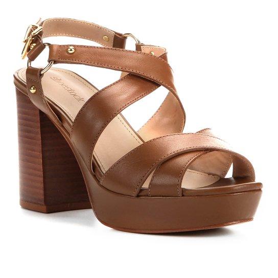 Sandália Couro Shoestock Meia Pata Amazon Feminina - Marrom Claro