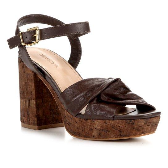 Sandália Couro Shoestock Meia Pata Cortiça Feminina - Marrom