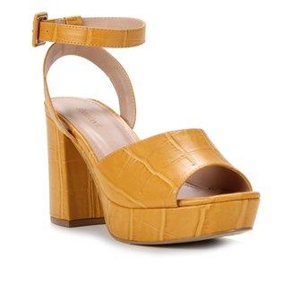 Sandália Couro Shoestock Meia Pata Croco Feminina