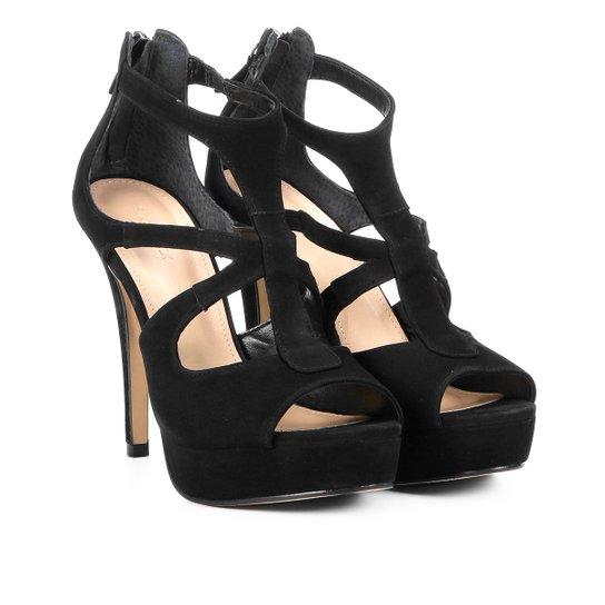 Sandália Couro Shoestock Meia Pata Feminina - Preto