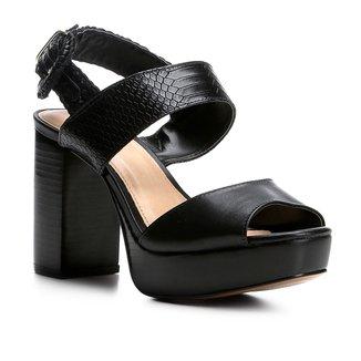 Sandália Couro Shoestock Meia Pata Fivela Feminina