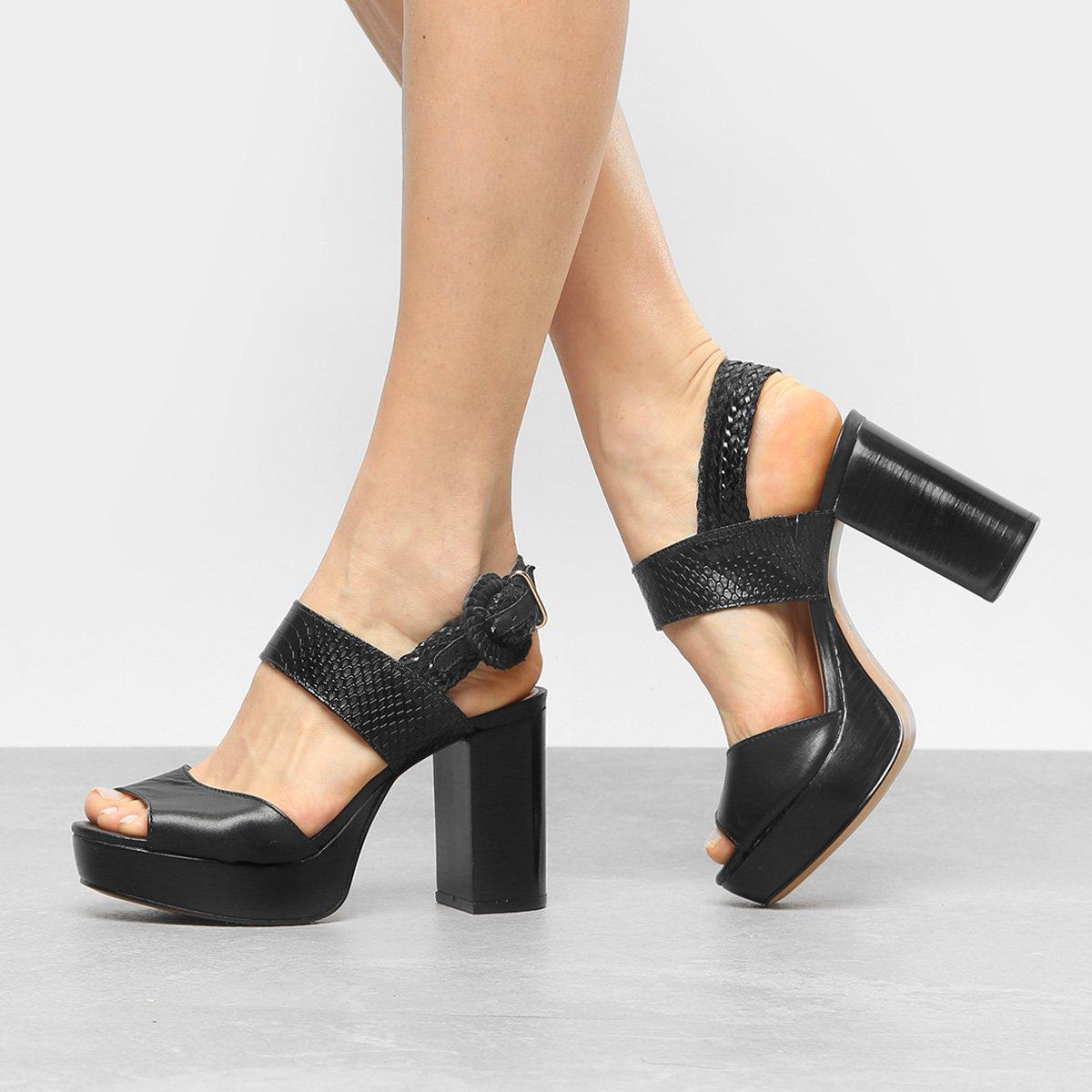 Sandália Preto Meia Pata Couro Sandália Fivela Couro Feminina Shoestock ZnxBdqdwz
