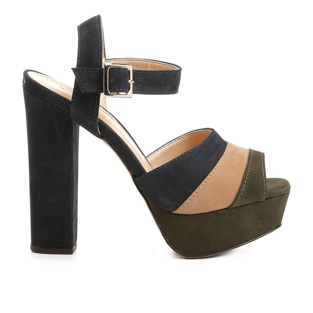 Mix Color Meia Pata Feminina Couro escuro Shoestock Verde Sandália axPC1qn