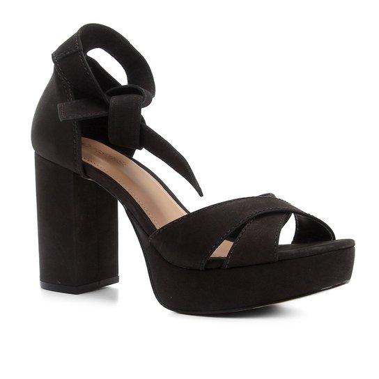Sandália Couro Shoestock Meia Pata Nobuck Feminina - Preto