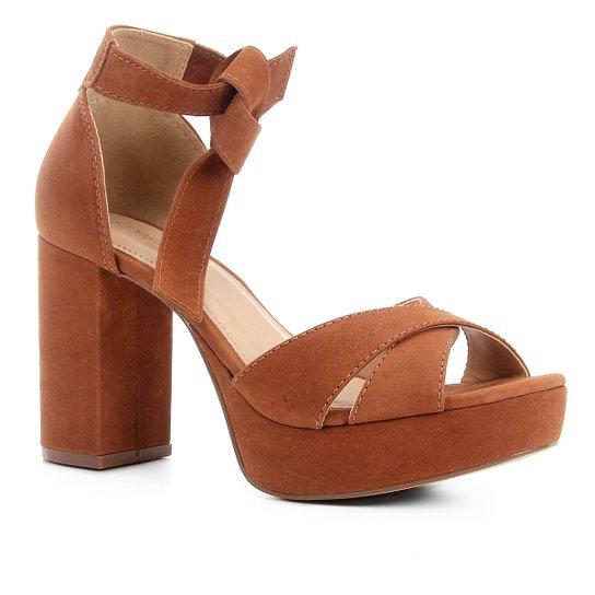 Sandália Couro Shoestock Meia Pata Nobuck Feminina - Caramelo