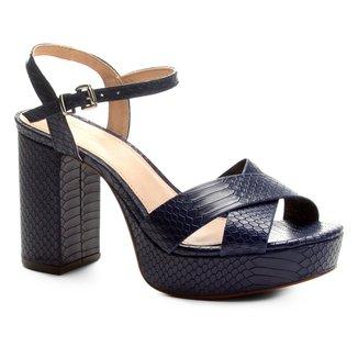 Sandália Couro Shoestock Meia Pata Snake Feminina