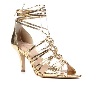 Sandália Couro Shoestock Multi Tiras Salto Alto Feminino