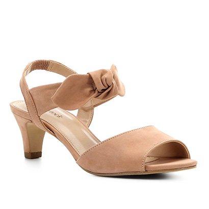 Sandália Couro Shoestock Nobuck Salto Baixo Laço Feminina