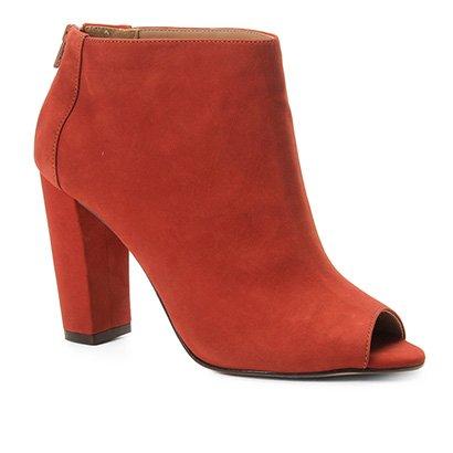 Sandália Couro Shoestock Nobuck Salto Grosso Feminina-Feminino