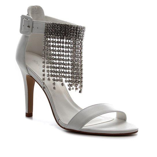 Sandália Couro Shoestock noiva Franja Strass Feminina - Branco