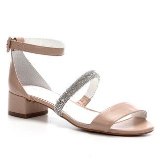 Sandália Couro Shoestock Noiva Tira Malha Strass Feminina