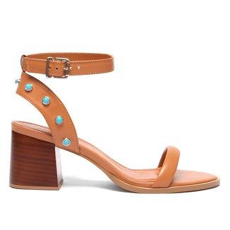 Sandália Couro Shoestock Pedras Salto Bloco Feminina