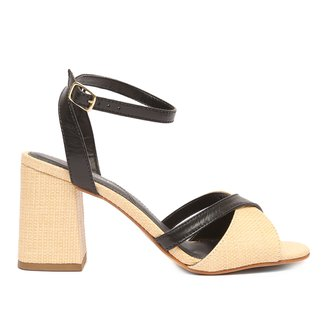 Sandália Couro Shoestock Ráfia Salto Bloco Médio Feminina