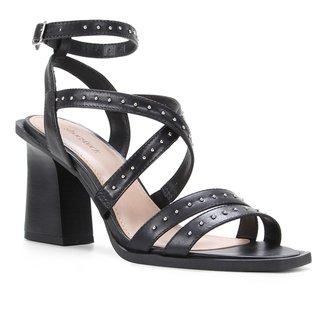Sandália Couro Shoestock Rebite Salto Alto Feminina