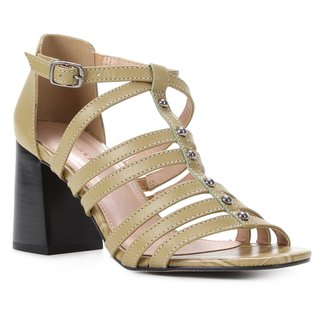 Sandália Couro Shoestock Rebites Salto Bloco Feminina