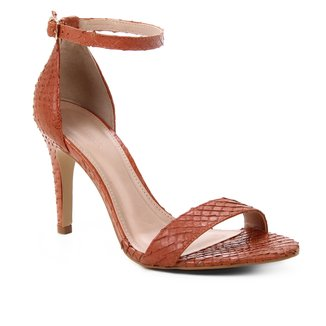 Sandália Couro Shoestock Salto Alto Basic Cobra Feminina