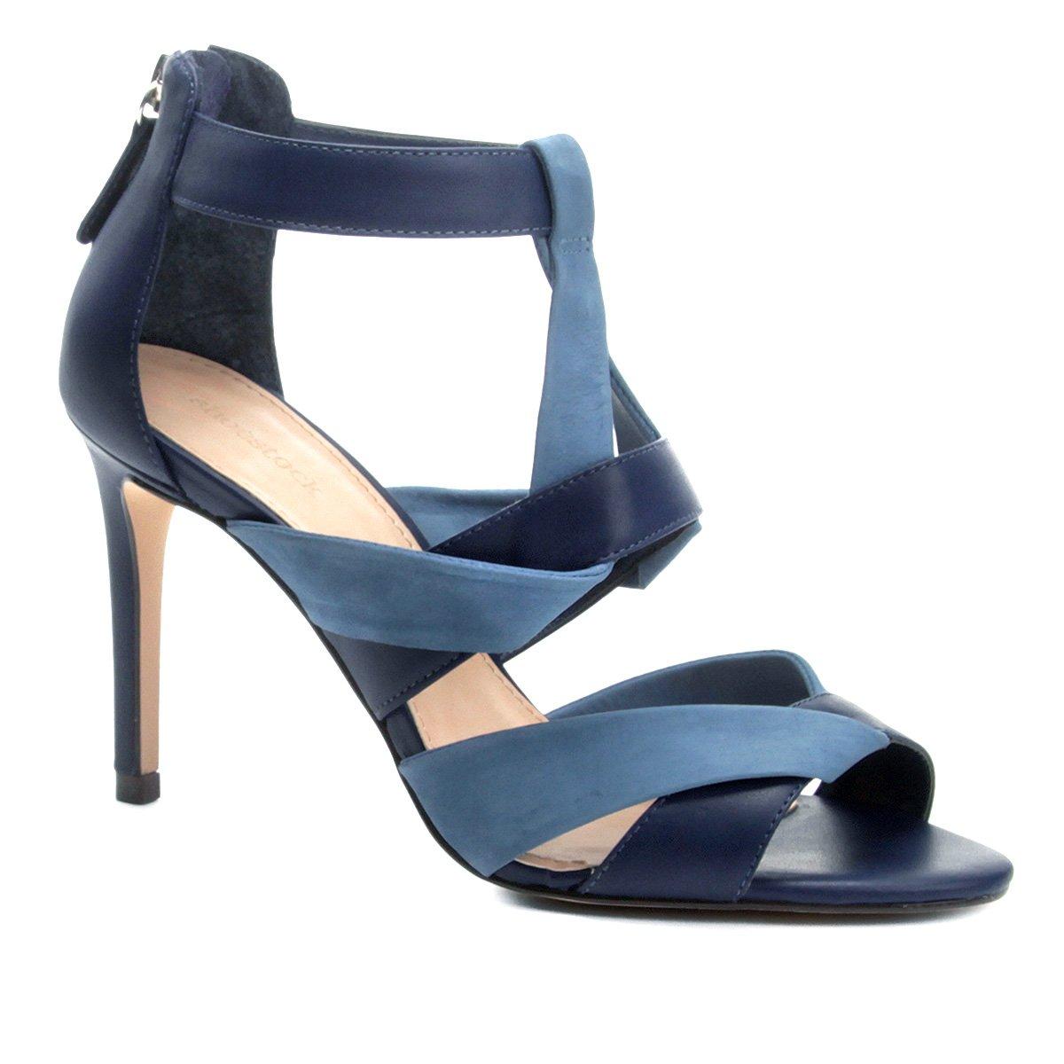 Sandália Shoestock Couro Bicolor Feminina Azul Salto Alto Couro Sandália rqwrAZtR