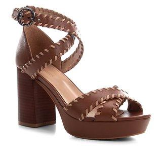 Sandália Couro Shoestock Salto Alto Nomade Crafts Feminina