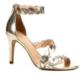 Sandália Couro Shoestock Salto Alto Snake Ondas Feminina