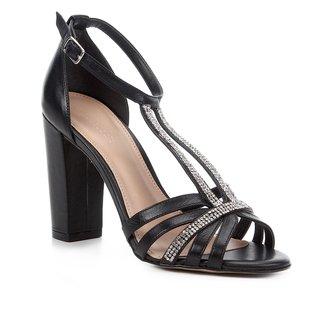 Sandália Couro Shoestock Salto Alto Strass Feminina